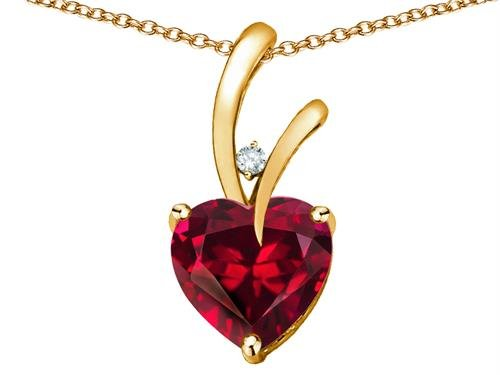 Star K Heart Shape 8mm Created Ruby Endless Love Pendant Necklace 10 kt White Gold by Star K (Image #1)
