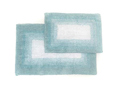 "Chesapeake Merchandising Whitney Reversible 2 Piece Bath Rug Set - Porcelain Blue, 21"" x 34"" & 17"" x 24"","