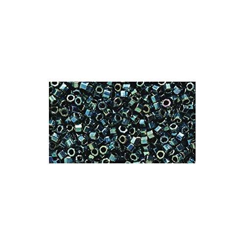 Miyuki Delica Hex Seed Bead 11/0 DBC027, Metallic Teal Aurora Borealis Finish, 9-Gram/Pack ()