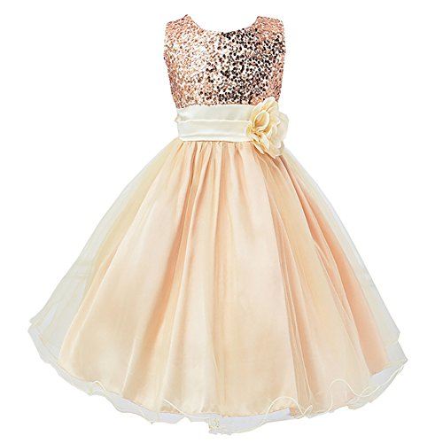Gold Lace Bow - LPATTERN Summer Kids Baby Girls Tutu Tulle Flower Sequin Princess Dresses Bowknot Sleeveless Party Wedding Dress Gold 5-6 Years
