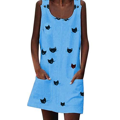 (TOTOD Minidress Cute Women Cat Print Sleeveles O Neck Tank Dress Pocket Casual Plain Long T-Shirts Sky Blue)