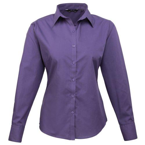 Camisa Manga Popelín Para De Premier Larga Mujer Púrpura Lisa HqdnRRBxp