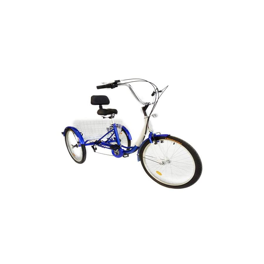 Happybuy 24 Inch Adult Tricycle Series 6/7 Speed 3 Wheel Bike Adult Tricycle Trike Cruise Bike Large Size Basket for Recreation, Shopping,Exercise Men's Women's Bike