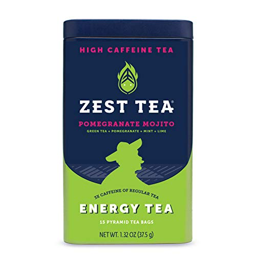 Zest Tea Premium Energy Hot Tea, High Caffeine Blend Natural & Healthy Black Coffee Substitute, Perfect for Keto, 135 mg Caffeine per Serving, Pomegranate Mojito Green Tea, Tin of 15 Sachet Bags]()