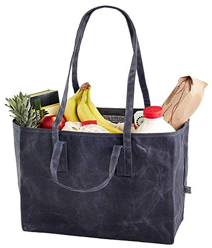 - Colony Co. Reusable Tote Bag | Waxed Canvas | Has Both Shoulder Straps AND Handles | Heavy-Duty | Biodegradable | Foldable | Gray