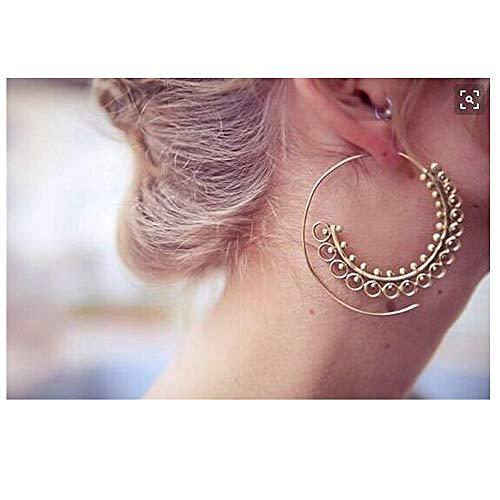 YRY Golden Bohemian Vintage Tribal Spiral Hoop Earrings for Women Girls Tribal Swirl Earrings (Gold)
