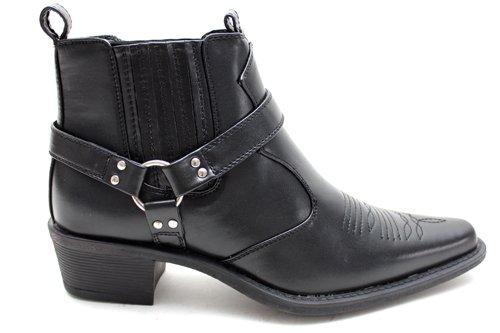 M0519A - Bottines avec boucle - style cowboy - homme - noir