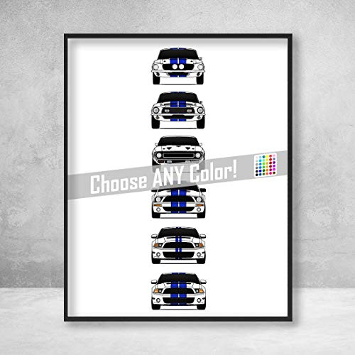 (Shelby Mustang GT500 Generations Poster Print Wall Art of the History and Evolution of the Ford Shelby GT500)