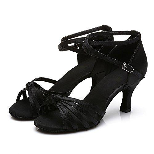 Women's Black Standard HROYL Ballroom S7 Shoes Satin Dance Chacha 7cm Modern 217 Samba Latin aAOqwdO