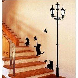 Adhesivo vinilo decorativo dibujo gatos y farola para la casa 70 x 50 cm: Amazon.es: Hogar