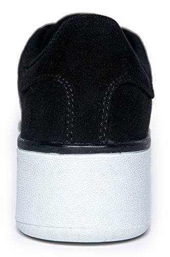 J. Adams Plattform Snörning Sneaker - Tillfällig Chunky Walking Sko - Lätt Vardagliga Mode Slip På - Hjälten Från Svart Mocka