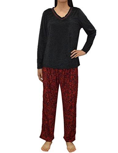 2 PCS SET Liz Claiborne Womens Gorgeous Polar Fleece Pajama Top & Pants Set M Multicolor
