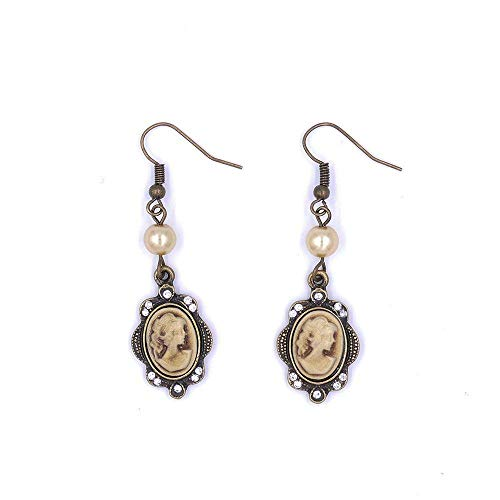 Gold Cameo Earrings - Vintage Cameo Dangle Earrings Gold Cream Pink White Pearl Rhinestone Antique Bronze