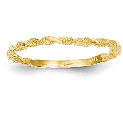 14k Yellow Gold Diamond-cut Textured Rope Band Ring (2mm Width)
