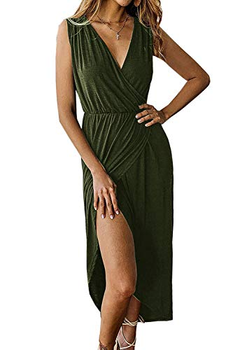 Yidarton Women's Casual Sexy Deep V Neck Wrap Sleeveless Slit Solid Party Summer Long Maxi Dress Army Green M