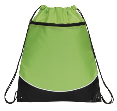 Deluxe Cinch Drawstring Two Tone Backpack Bookpack Bag, Lime Green by BAGS FOR (Two Tone Drawstring)