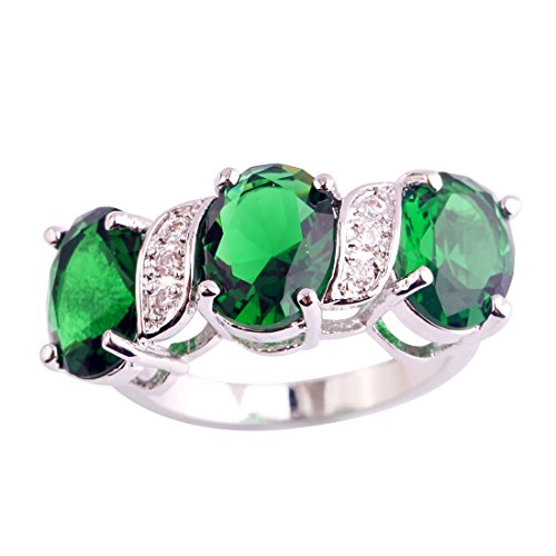 Narica Womens Brilliant Oval Cut Green Sapphire & White Topaz Cocktail Ring