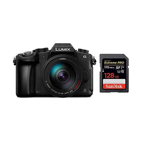RetinaPix Panasonic DMC-G85H Lumix G Vario 14-140mm/F3.5-5.6 ASPH Lens, Mirrorless Camera with case + SanDisk 128GB Extreme Pro SD Card