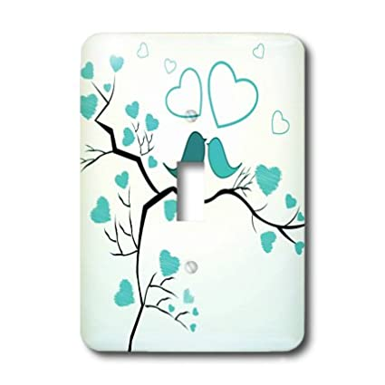 3dRose lsp/_101640/_1 Two Kissing Love Birds And Hearts In Turquoise Single Toggle Switch Multicolored