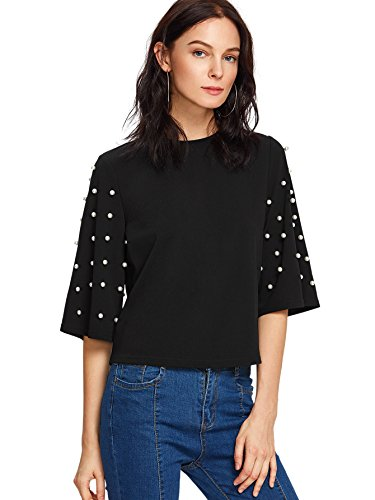 Embellished Medium Sleeve (ROMWE Women's Round Neck Half Sleeve Pearl Embellished Blouse Tee Tops Black M)