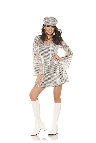 Underwraps Shimmer Silver Metallic 1970's Disco Outfit Halloween Costume-S Small