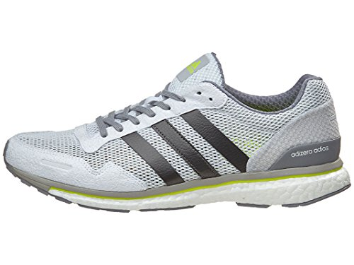 adidas Performance Men's Adizero Adios m Running Shoe White/Trace Grey Metallic/Solar Yellow 11 M US