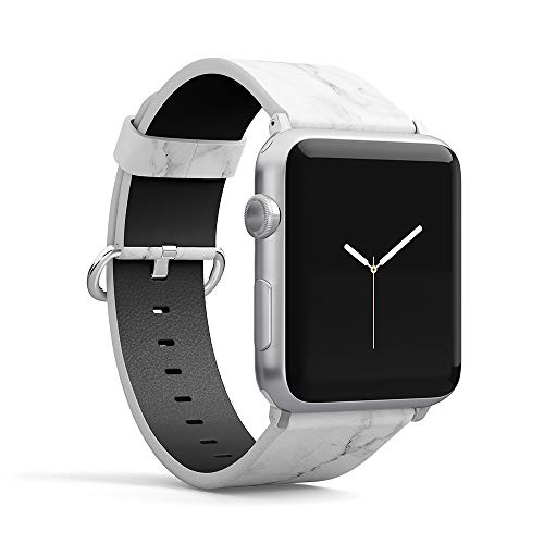- Watch Band Compatible for iWatch 38mm 40mm PU Leather Strap Pattern Printed Replacement for Apple Watch Band Smartwatch Series 4 3 2 1 Version (White -Marble, 42mm/44mm)