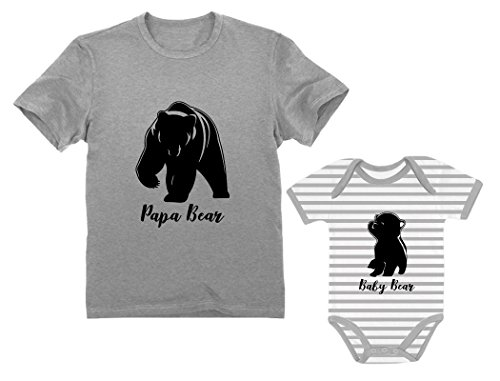 Papa & Baby Bear Men's T-Shirt & Baby Bodysuit Outfit Father & Son Matching Set Dad Gray X-Large/Baby Gray/White 24M (18-24M)