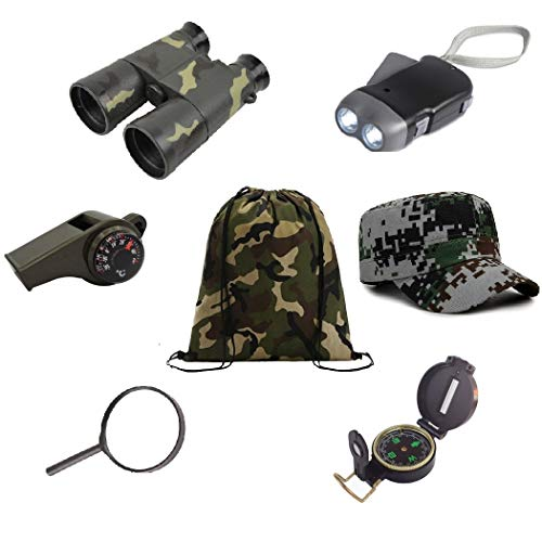 Kids Outdoor Backyard Exploration kit (7 Pieces) Explorer Adventure,Camping,Hiking, Pre-School Educational Toys/Gift Set - Backpack, Magnifying Glass, Flashlight,Compass,Binoculars,Military Style hat ()