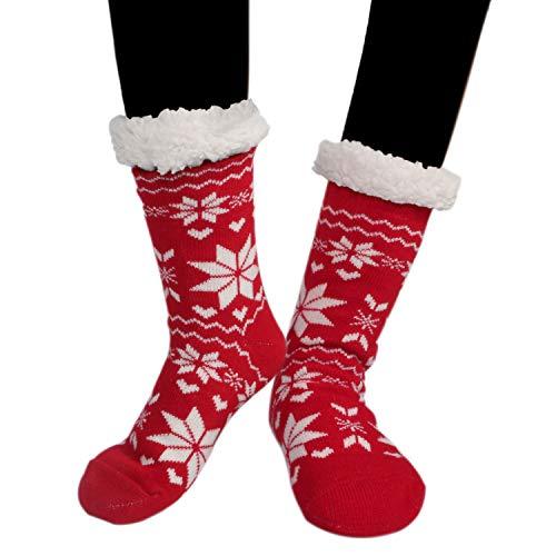 Buluri Womens Knit Slipper Socks Winter Soft Warm Cozy Highs Stockings Fleece-Lined Christmas Gift