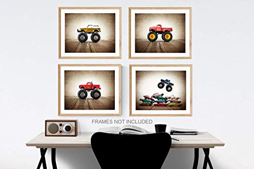 (Vintage Monster Truck Wall art, Set of 4 UNFRAMED Photos or Canvas multiple sizes available,)