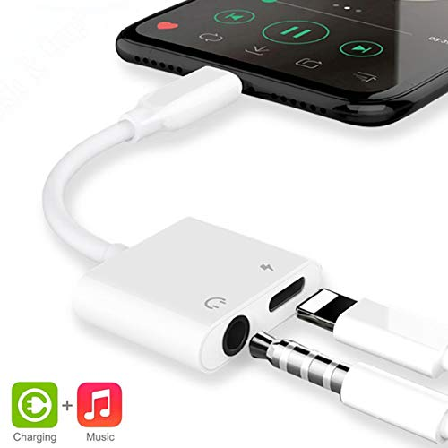 Earphone Adapter for iPhone Charging Power Adapter to 3.5mm Headphone Jack Cable 2 in 1 Dongle Splitter for Charging and Audio Compatible for iPhone XS/MAX/XR/X/8/8Plus/7/7Plus Support for All iOS