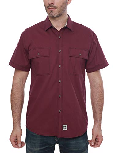 Men's Short Sleeve Canva Button-Up Work Shirt Wine Red Large