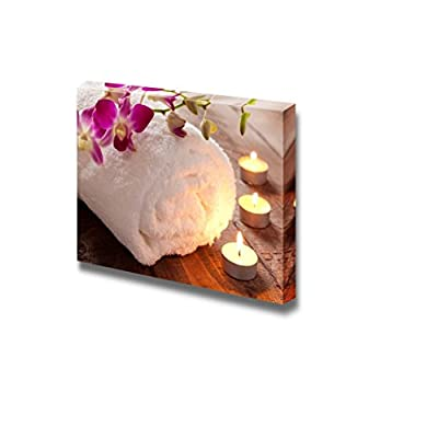 Canvas Prints Wall Art - Spa Concept with Candle and Towel | Modern Wall Decor/Home Decoration Stretched Gallery Canvas Wrap Giclee Print & Ready to Hang - 16
