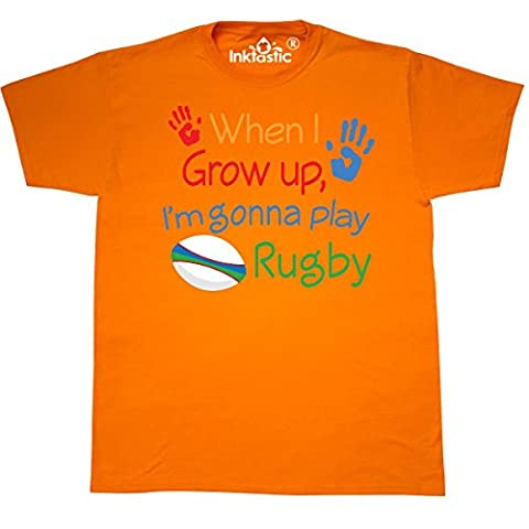 Inktastic - Future Rugby Player T-Shirt Large Safety Orange - 761 Rugby