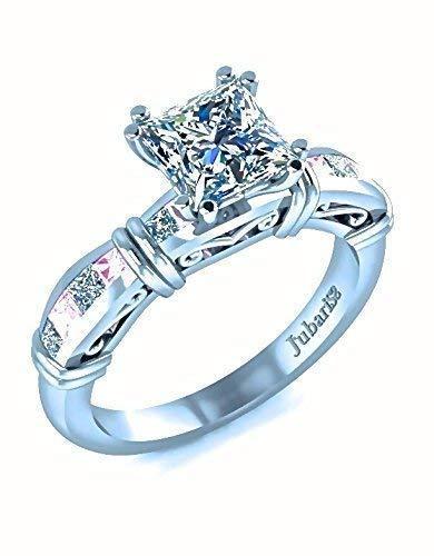 1.26 Ctw Princess Cut Diamond&Pink Sapphire Engagement Ring Classic Custom Buckles Scrolls & Filigree White Gold 14K Jubariss Handmade Fine ()