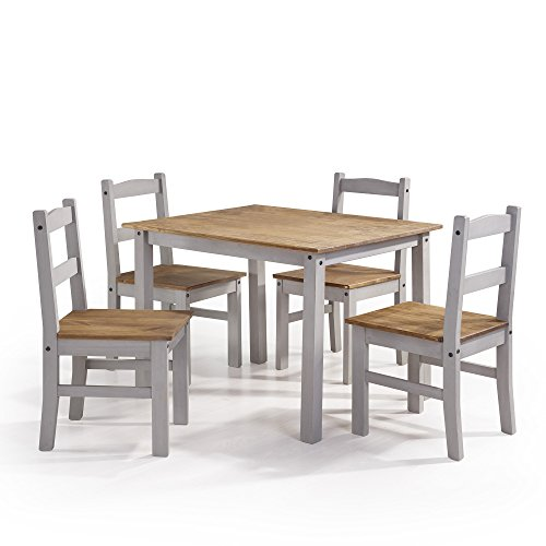 Manhattan Comfort Maiden Collection Reclaimed Traditional Modern 5 Piece Pine Wood Dining Set, 4 Chairs and 1 Table Wood/Off White (5 Piece Dining Collection)