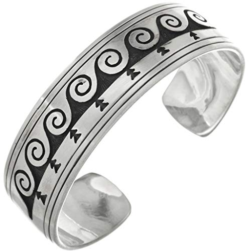 Overlaid Silver Indian Cuff Navajo Waves Arrows Bracelet 0730