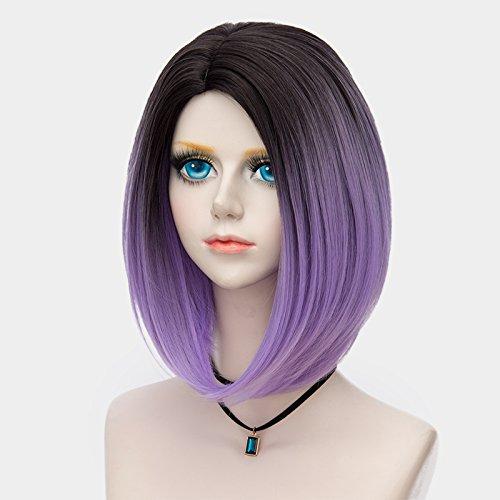 Probeauty Women's Wig Short Bob Dark Root Wig Women's Fashion Synthetic Ombre Wig (Dark Root Ombre Purple) by Probeauty (Image #3)