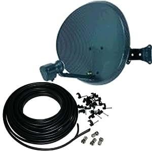 Antena parabólica y LNB Quad 15 m Kit de luces para. Autoadhesivas para instalar Zone 1 Sky Freesat fuente con cables y nuestra nueva fuente puntero de herramientas.