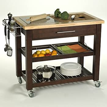 Chris U0026 Chris Jet1224 Pro Chef Kitchen Cart With Granite Top, 23 By 40 By