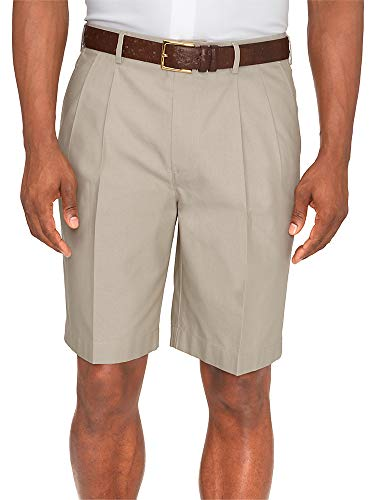 Paul Fredrick Men's Non-Iron Supima Cotton Solid Pleated Shorts British Tan 38