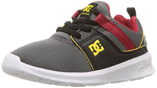 DC Heathrow Skate Shoe, Grey/Black/Red, 5 M US Big Kid ()