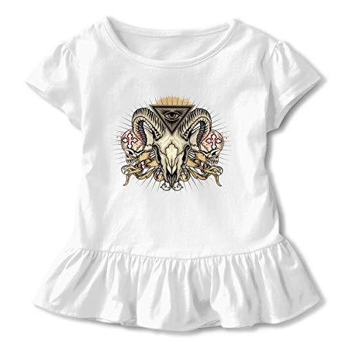 Alfred Weekjey Baphomet Satan Goat Grunge Skull Girls' Short-Sleeve Tunic T-Shirt -
