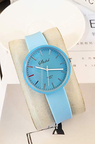 Korean-Style Watch Boys Girls Woman Unique Gift Couple Lover Watch Fashion Casual Elegance Jelly Table Students (Blue