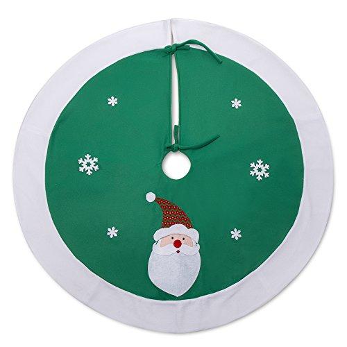 iPEGTOP 42 Christmas Tree Skirt with Santa Snowflake Holiday Christmas Decorations, Rustic Green and White Rim