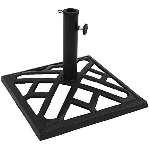 Sunnydaze Cast Iron Umbrella Base with Modern Geometric Design, 17-Inch Square