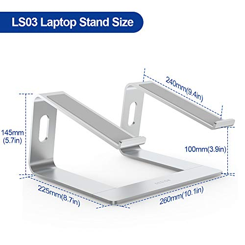 "BESIGN LS03 Aluminum Laptop Stand, Ergonomic Detachable Computer Stand, Riser Holder Notebook Stand Compatible with Air, Pro, Dell, HP, Lenovo More 10-15.6"" Laptops, Silver"