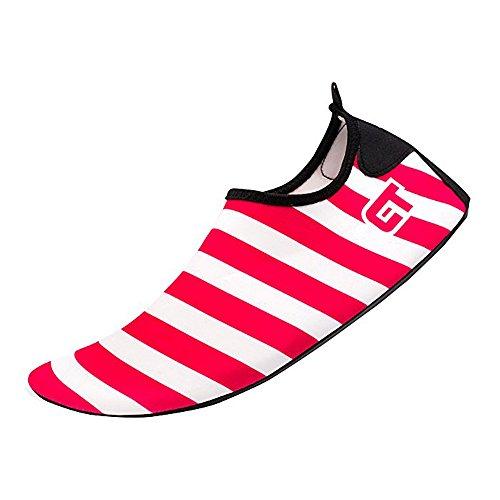 JACKSHIBO Männer Frauen und Kinder Quick-Dry Wasser Haut Schuhe Aqua Socken Für Wassersport Schwimmen Surf Yoga Exercise Beach Streifen-rot