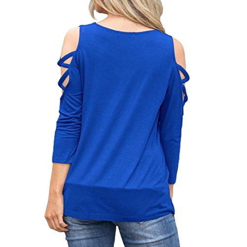 3 Royal Yefree Manche shirts Du Pour Blouses Sweat 4 Avec Des Épaules Blue Sweatshirts Cou Casual Sans Femmes Ras wqTrqIF